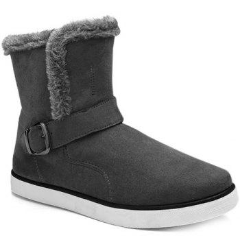 Laconic Plush and Buckle Design Snow Boots For Men