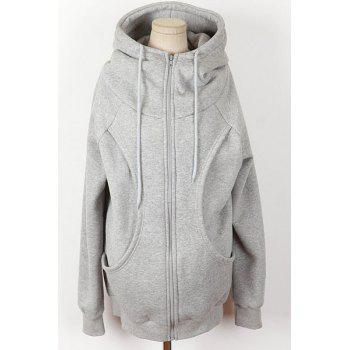 Casual Women's Solid Color Loose-Fitting Long Sleeves Hoodie