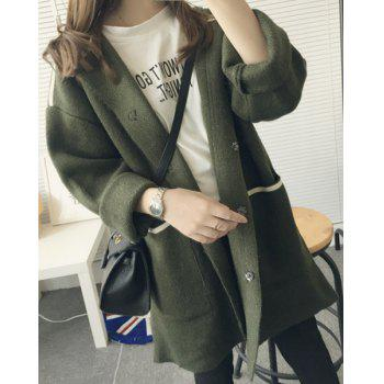 Chic Style Pocket Design Turn-Down Collar Long Sleeve Cardigan For Women