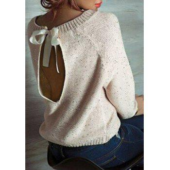 Casual Women's Scoop Neck Long Sleeve Backless Sequines Sweater