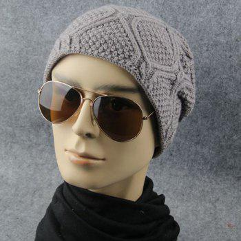 Stylish Rhombus Shape Men and Women's Knitted Beanie - RANDOM COLOR