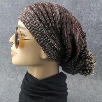 Stylish Woolen Yarn Ball Embellished Men and Women's Knitted Beanie - COFFEE COFFEE