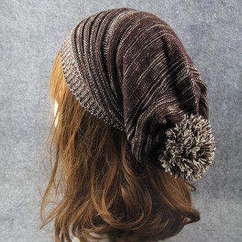 Stylish Woolen Yarn Ball Embellished Men and Women's Knitted Beanie -  COFFEE
