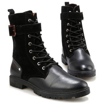 British Style Splicing and Buckle Design Mid-Calf Boots For Men - BLACK 43