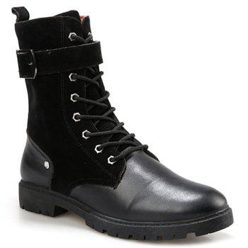 British Style Splicing and Buckle Design Mid-Calf Boots For Men