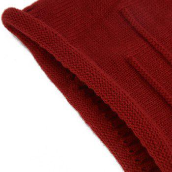 Chic Stripy and Edge Curl Embellished Women's Knitted Beanie - RED