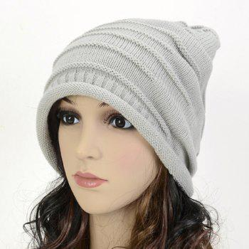 Chic Stripy and Edge Curl Embellished Women's Knitted Beanie - LIGHT GRAY LIGHT GRAY