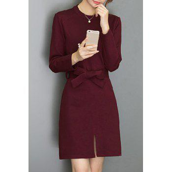 Chic Long Sleeve Round Collar Pure Color Women's Dress