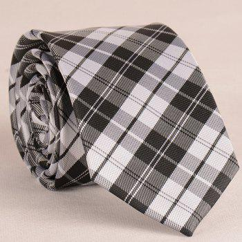 Stylish White and Black Tartan Pattern 6.5CM Width Men's Tie - WHITE AND BLACK WHITE/BLACK