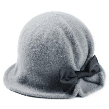 Chic Bow Embellished Solid Color Round Top Women's Felt Bucket Hat