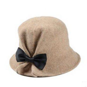 Chic Bow Embellished Solid Color Round Top Women's Felt Bucket Hat -  RANDOM COLOR