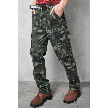 Zipper Fly Slimming Pockets Straight Leg Stylish Men's Camo Pants