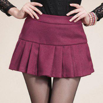 Sweet Zippered Candy Color Pantskirt For Women
