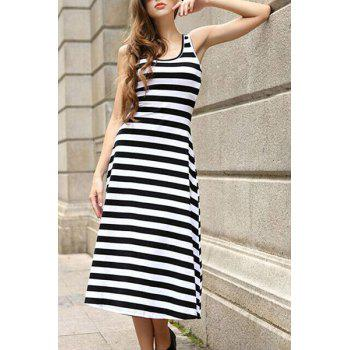 Graceful U Neck Sleeveless Striped Spliced Women's Sundress