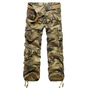 Multi Pockets Zipper Fly Slimming Straight Leg Fashional Men's Camo Pants
