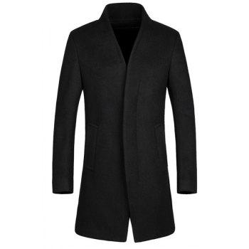 Laconic Stand Collar Multi-Button French Front Back Slit Long Sleeves Fitted Men's Woolen Blend Coat
