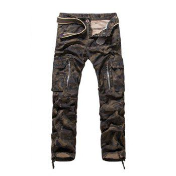 Loose-Fitting Zipper Fly Straight Leg Star Print Men's Camo Pants
