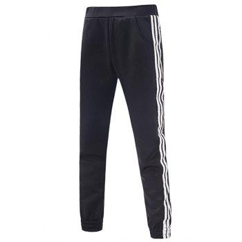 Elastic Waist Side Stripe Embellished Slimming Beam Feet Men's Pants