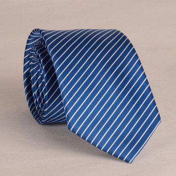 Stylish White Slim Stripe Pattern 8CM Width Men's Tie - DEEP BLUE DEEP BLUE