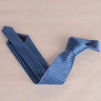 Stylish White Slim Stripe Pattern 8CM Width Men's Tie -  DEEP BLUE