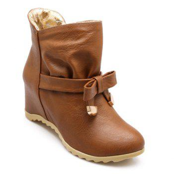 Sweet Bowknot and Ruffle Design Short Boots For Women