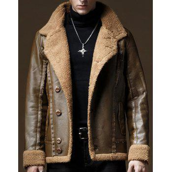 Inclined Button Flocking Turn-Down Collar Long Sleeve PU-Leather Men's Jacket