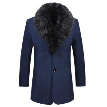 Laconic Detachable Fur Collar Back Slit Single Breasted Slimming Long Sleeves Men's Thicken Trench Coat