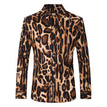 Turn-Down Collar Leopard Printed Slimming Long Sleeve Men's Shirt