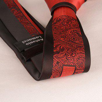 Stylish Red Retro and Latticed Jacquard 6CM Width Men's Tie -  RED/BLACK