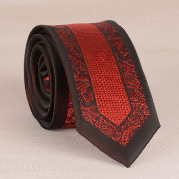Stylish Red Retro and Latticed Jacquard 6CM Width Men's Tie - RED WITH BLACK RED/BLACK