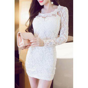 Stylish Scoop Neck Beaded Long Sleeves Lace Dress For Women
