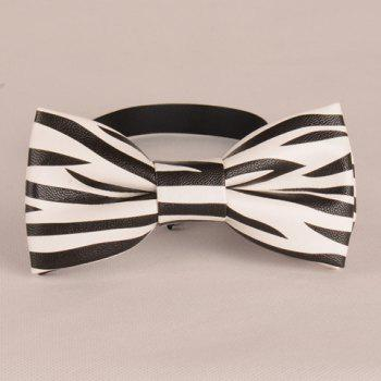 Stylish White and Black Zebra Stripe Pattern Men's PU Bow Tie