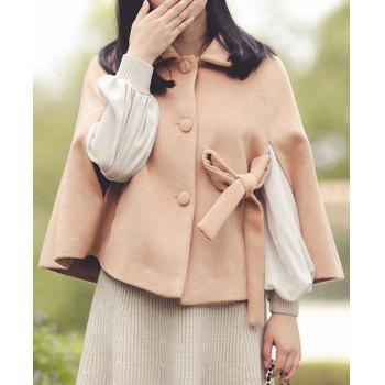Cute Turn-Down Neck Pure Color Bowknot Design Women's Coat