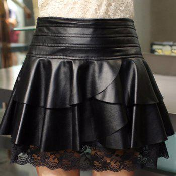 Attractive Black Ruffles Lace Spliced PU Leather Skirt For Women