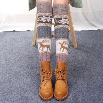 Buy Pair Chic Snowflake Deer Pattern Women's Christmas Knitted Leg Warmers RANDOM COLOR