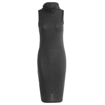 Charming Sleeveless Turtleneck Solid Color Women's Bodycon Dress