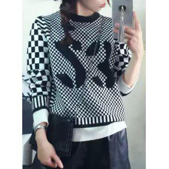Casual Women's Round Collar Long Sleeves Plaid Sweater