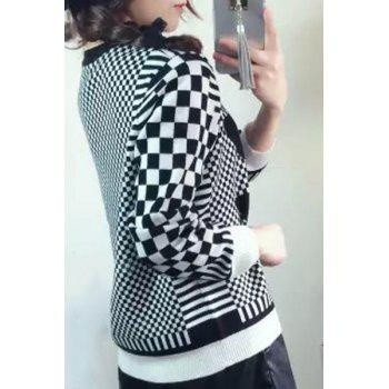 Casual Women's Round Collar Long Sleeves Plaid Sweater - WHITE/BLACK M
