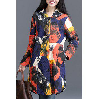 Casual Hooded Printed Long Sleeve Fleece Coat For Women