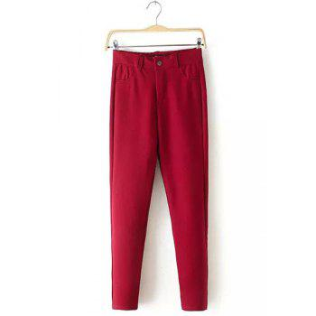 Casual Women's Stretchy Skinny Pants - RED XL