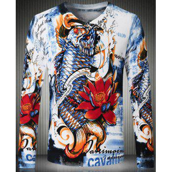 Slimming Abstract Fish and Flower Pattern V-Neck Long Sleeve Men's Sweater