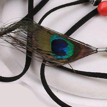 Chic Peacock Feather Pendant Embellished Women's Waist Rope -  BLACK