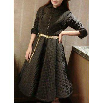 Stylish Peter Pan Collar Long Sleeve Solid Color Flare Dress For Women