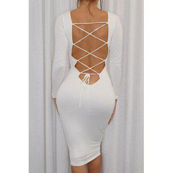 Sexy Round Neck Long Sleeve Hollow Out Slimming Lace-Up Women's Dress