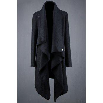 Irregular Design Turn-Down Collar Lengthen Long Sleeve Men's Trench Coat