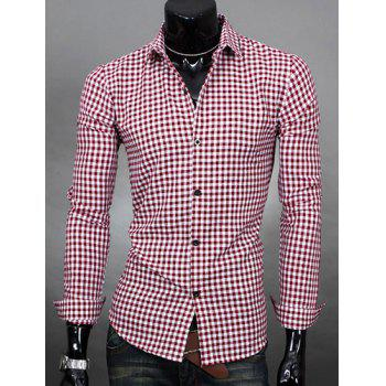 Simple Shirt Collar Color Block Plaid Print Long Sleeves Men's Slimming Shirt - PURPLISH RED PURPLISH RED