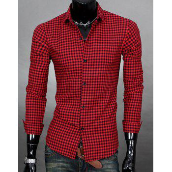 Simple Shirt Collar Color Block Plaid Print Long Sleeves Men's Slimming Shirt