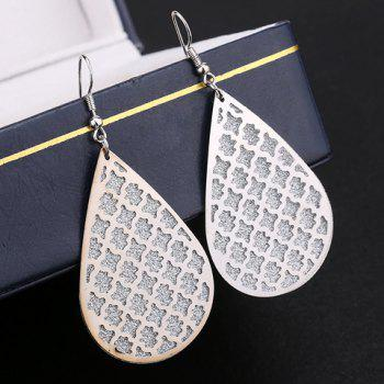 Pair of Water Drop Hollow Out Dull Polish Earrings