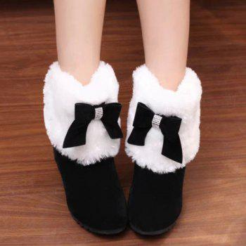 Wedge Heel Bow Trimmed Ankle Boots - BLACK 39