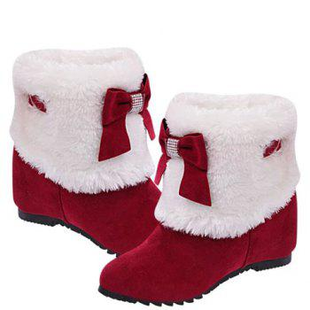 Wedge Heel Bow Trimmed Ankle Boots - RED 37